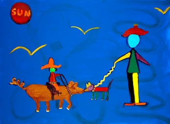 18MM-PECOS-BILL-MEETS-MISS-TAMALPAIS-30in.X24in.-Acrylic-on-Canvas